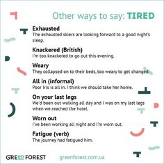 Forum | ________ Learn English | Fluent LandOther Ways to Say TIRED | Fluent Land