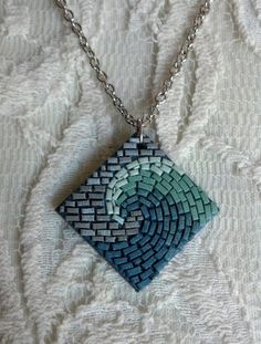 Midnight Seafoam Wave Mosaic Necklace - polymer clay pendant