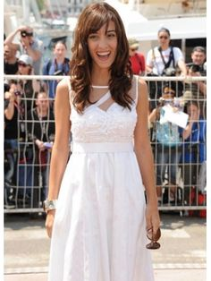 White Pretty Chiffon Satin Sleeveless Cannes Film Festival Dress.  Selling at Discount...