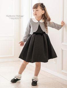 839f62353bcf6 子供ドレスのキャサリンコテージ《本店》ワンピース・スーツ・フォーマル靴   リボンワンピース & 白襟ボレロセット 110 120 130 cm  ブラック 黒 グレー 千鳥格 ...