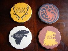 """The """"Game of Thrones"""" season premiere is getting closer and closer. To channel my excitement into something productive, I made these coasters to go along with the table makeover I did a couple of w. Geek Crafts, Diy Crafts, Game Of Thrones Party, Diy Games, Brewing Co, Winter Is Coming, Cool Art, Coasters, Arts And Crafts"""