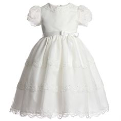 Sarah Louise Girls Ivory Organza Occasion Dress with Beads & Floral Embroidery at Childrensalon.com