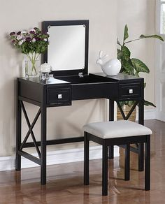 diy makeup vanity | The Perfect Black Vanity Table and Bench