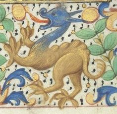 Medieval Dragon marginalia from Horae ad usum romanum, c. 1401-1500