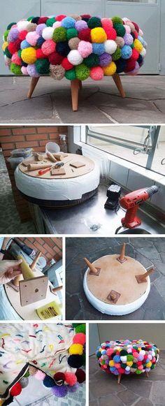 DIY Pom Pom Poof. Cr