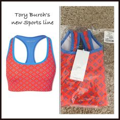 Tory Burch Sports Bra Beautiful never been worn new Tory Burch Sport sports bra. Mesh back. TACTEL nylon fiber by Invista fabric, it is soft, lightweight, and gorgeous. Also made with spandex. An orange-y/red color with blue. Tory Burch Intimates & Sleepwear Bras
