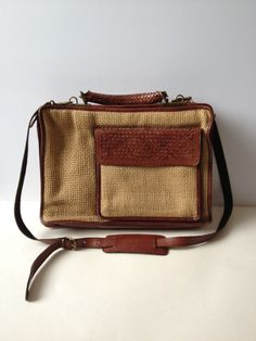 Vintage Leather Messenger Bag/ Leather Messenger/ Jute and Leather Briefcase/ Briefcase/ Brown Leather Briefcase/ Laptop Bag/ Plaited Leathe by Tukvintage on Etsy
