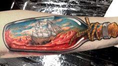 Ship in a Bottle Tattoo by Felipe Rodrigues Fe Rod