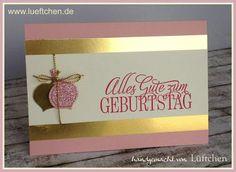 Lüftchen Stempelstudio Bergedorf: Geburtstagskarte in gold, rosa mit Diamantgleißen