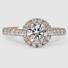 14K Rose Gold Sienna Diamond Ring // Set with a 0.9 Carat, Round, Super Ideal Cut, G Color, VS2 Clarity Diamond #BrilliantEarth