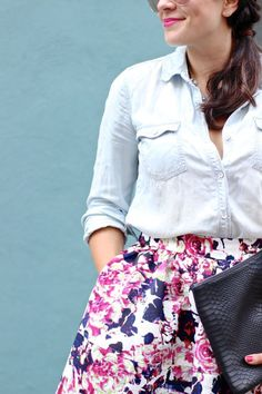 Floral Skirt, chambray shirt and skirt outfit, mini skirt, full skirt, fashion, fall outfits
