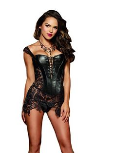 a79d45bbf2d Dreamgirl Women s Beyonce Corset and Thong Set  Command your lover s full  attention in this riveting faux leather and venice lace fully boned corset  and ...