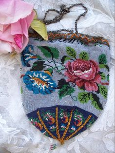 Antique Gatsby Era French Floral Beaded Purse 1910
