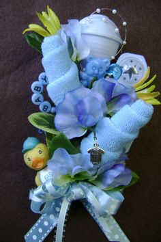 Baby Shower Corsage /Baby Washcloth Corsage /Baby Boy New Mom Corsage /Reusable Items Baby Shower Favors, Baby Shower Items, Baby Shower Crafts, Baby Shower Parties, Baby Boy Shower, Baby Shower Decorations, Shower Gifts, Baby Corsage, Diaper Cake Boy