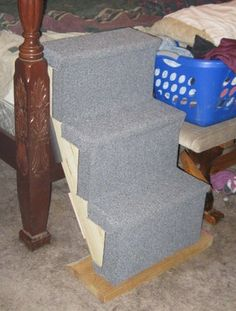Dog Stairs for Bed (take : 7 Steps - Instructables Dog Stairs For Bed, Indoor Dog Park, Dog House Bed, Dog Ramp, Dog Steps, Dog Pin, Dog Crafts, Rooms Home Decor, Dog Houses