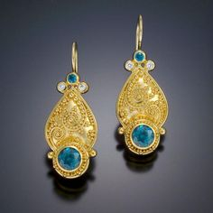 Tuscan Garden Series Earrings   Zaffiro Jewelry  Earrings are set with Blue Zircons and Diamonds in granulated 22kt yellow gold with 18kt yellow gold french hooks.
