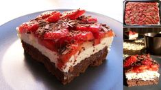 """""""vytuněné"""" míša řezy s jahodama a strouhanou čokoládou 20 Min, Meatloaf, Cheesecake, Muffins, Food And Drink, Pie, Recipes, Cakes, Nova"""