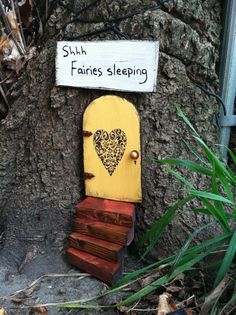 Fairy Garden Set Yellow distressed fairy door. Gift by WoodenBLING, $31.00