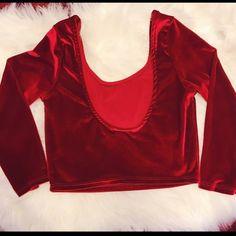 PRICE DROP❤️❤️❤️ Red Velvet Crop Top 🎈Long sleeves  🎈Velvet material 🎈Low Scoop back Tops Crop Tops