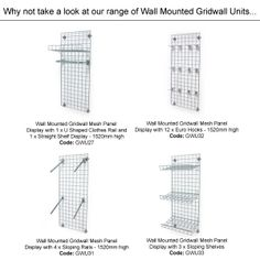 Wall Mounted Gridwall Mesh Panel Display - 1520mm High