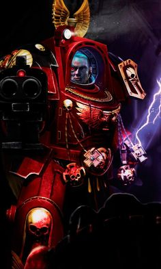 Blood Angel, brother sergeant Lorenzo, - illustration created as PR material while I was modeling / texturing / rigging and animating the 12 imperial heroes of Space Hulk