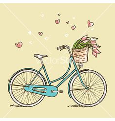 Vintage bicycle with flowers vector - by kariiika on VectorStock®