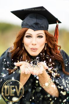 Senior Photos in graduation cap and gown with confetti glitter! Copyright Devon J. Imagery Source by
