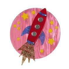 To boldly go where only a select few have gone before. The view is quite amazing from this red rocket's glare. Another fabalous brooch from Erstwilder. Paua Shell, Rockabilly Fashion, Rockabilly Style, Resin Jewelry, Jewellery, Vintage Brooches, Art Nouveau, Whimsical, Pin Up