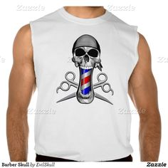 Barber Skull Sleeveless Tees Tank Tops