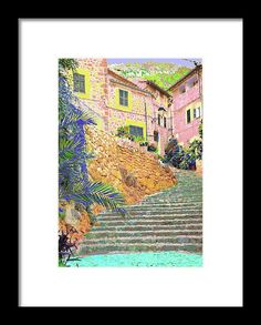 Village of Fornalutx, Soller, mediterranean island of Majorca, art photography, by mallorcacolors, art print for sale in Fine Arts America, colorful, pastel colors, blue and red, the streets of Mallorca as source of inspiration, digitally treated, fine art photography.  contemporary interior decoration and interior design