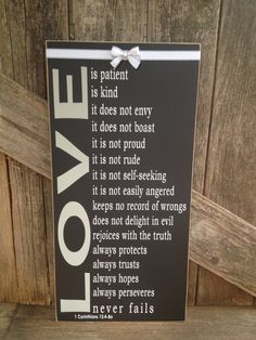 LOVE is patient Love is kind Home wedding family 1 corinthians 13:4-8 sign home decor