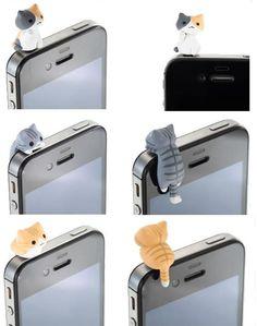 Cat Cute Dust Plug Headphone Ear Cap Jack Plug for iPhone 4 s Samsung Galaxy HTC | eBay