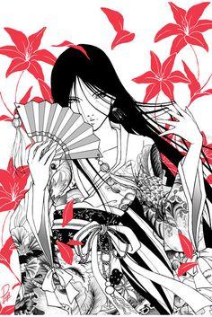 Geisha by PepiGonzalez on DeviantArt Tattoo 1 Geisha Kunst, Geisha Art, Anime Kunst, Anime Art, Geisha Tattoos, Geisha Anime, Geisha Drawing, Tattoo Oriental, Arte Ninja