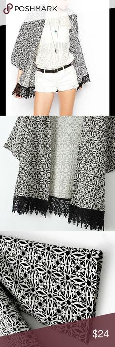 Floral loose Beige Kimono Jacket Boho Chiffon Cotton mix material beautiful Kimono, It is Beige color. If you need a different size, I can order. I have one white black,L size if you want Tops Camisoles