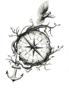 Unique Compass With Anchor And Flying Birds Tattoo Design