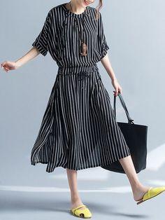 Vintage Women Stripe Short Sleeve Drawstring Mid-Long Dresses Shopping Online - NewChic Mobile.