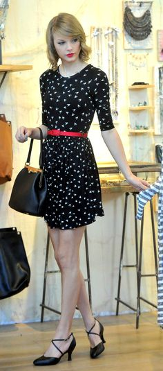 Taylor Swift ; Out shopping with Lorde, West Hollywood, February 2014 ; ASOS dress, Dolce & Gabbana bag & Bloch heels