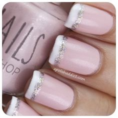 Pink,Silver,White. Loving this twist on a French tip.