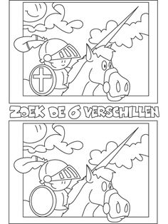 Kleurplaat Zoek de verschillen - Kleurplaten.nl Preschool Themes, Activities For Kids, Dragons, Scottish Castles, Thematic Units, Medieval Art, School Life, Colouring Pages, Crafts To Do