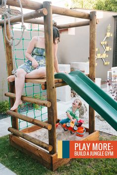 Top 5 tips for planning and building a Jungle / Play Gym via Curate This Space - Happy Play House Plans - Re-Wilding Kids Outdoor Play, Kids Play Area, Backyard For Kids, Backyard Gym, Indoor Play, Backyard Ideas, Natural Playground, Backyard Playground, Playground Ideas