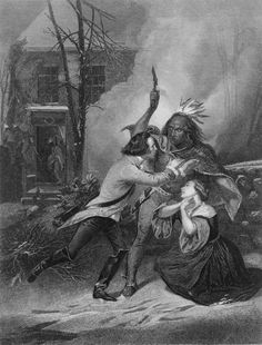 Incident at Cherry Valley by Thomas Phillibrown, Depicts the death of Jane Wells at the Cherry Valley Massacre, the Indians' response to the raids on Onaquaga and Unadilla by the patriots