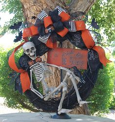 Hey, I found this really awesome Etsy listing at https://www.etsy.com/listing/162935924/halloween-wreath-skeleton-wreath-eat