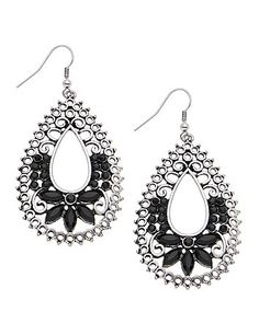 Versatile teardrop earrings make their mark with swirling filigree designs punctuated by colored stones in the season's hottest hues. Hooks with clear cylinder backs. All Lane Bryant jewelry is nickel free for sensitive skin. lanebryant.com