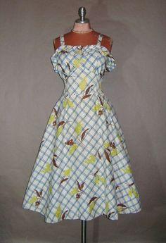 Love this - 40s dress 1940s vintage BLUE FLORAL PLAID by capricornvintage, $73.00