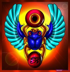 "This piece of art Is a colorful example of the ""Scarab Beetle"" or Kheper. it was associated with the God Atum. it was first drawn by greek soldiers."