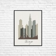 Chicago poster, chicago skyline, chicago print, chicago wall art, city poster…