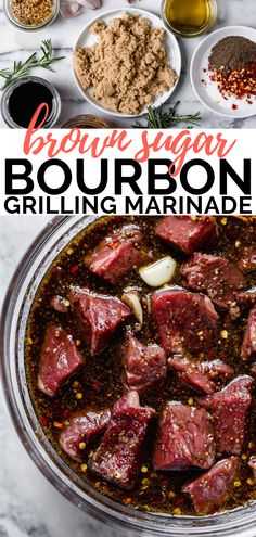 brown sugar Tangy, sweet, & rich, this brown sugar bourbon marinade feels majorly fancy but couldnt be easier to throw together! It is made with pantry ingredients (brown sugar, balsamic v Chicken Kabob Marinade, Jerky Marinade, Lamb Marinade, Pork Chop Marinade, Pork Jerky, Balsamic Marinade, Marinated Beef, Chicken Marinades, Grilled Chicken Recipes