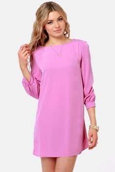 Pretty Lilac Purple Dress - Shift Dress - Dress with Sleeves - $38.00