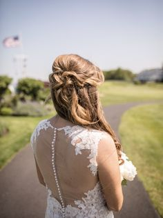 Bridal half up hair bridal style by Dasha