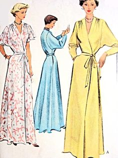 $75 McCall 7901 (1950's) Robes with Dolman sleeves in long tapered sleeves or Flutter Short Sleeves. Gathered along shoulder seam + back waist. On-seam pockets. Belt has carriers? + is included in pattern fabric as it matches?